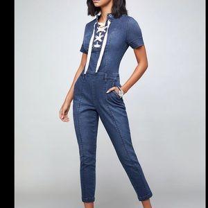 BEBE lace up cropped jumpsuit jean size 28